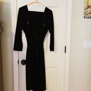 Three quarter sleeve, dark navy dress